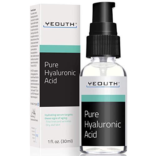 YEOUTH Hyaluronsäure-Serum fürs Gesicht - 100% rein, klinisch, stark, Anti-Aging-Formel! füllt die Haut auf & spendet Feuchtigkeit, reduziert Falten -Natürliche Feuchtigkeitspflege (1oz)