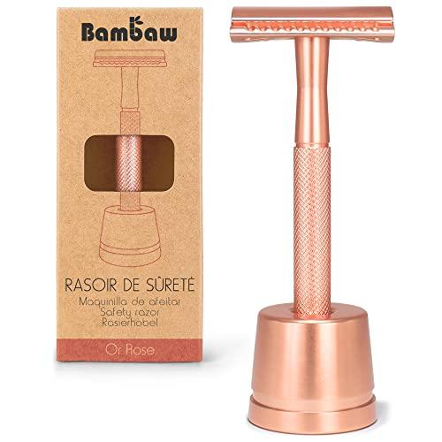 Eco Rasierer Metall   Rasierhobel Rose Gold mit Rasierhobel Ständer   Damen Rasierer Hobel   Rasierhobel Zero Waste   Rasierer Frauen   Rasierer Plastikfrei   Shaving Women   Safety Rasierer   Bambaw